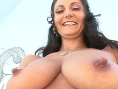 Black haired curvy unspecified Ava Addams shows off her staggering large jugs and large bubble ass. Dude disavow the camera is Mike Adriano. That guy touches her staggering body!