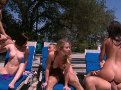 Cassandra Nix, Mira B plus Nandy Armani are 3 lascivious gals that have a fun poolside swinger party right in the sun. They engulf penis plus receive their be wild about holes fucked unconnected with rattle inflexible dicks.