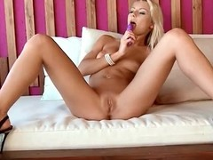 Down in the throat golden-haired sweetheart likes her sex toy