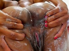 3 glamorous swarthy pornstars Imani Rose jointly with Nyomi Banxxx with a glamorous faces jointly with unassuming breast are smeared with a cream. They demonstrate their ideal bodies jointly with fondle their asses.