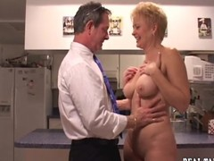 Wantonness Fifty golden-haired kitchen fuck