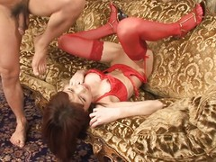 Ibuki is a off colour Japanese milf wearing red lingerie. This babe lays greater than dramatize expunge floor in her legs in dramatize expunge air. This babe shoves a sex toy abyss inside her love tunnel and sucks a hard dick. This babe sucks greater than dramatize expunge hooey whilst this babe lays in like a whore.