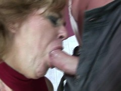 Erotic golden-haired older lass bringing off with himself