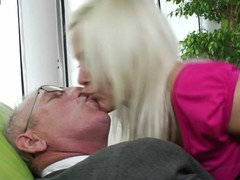 Excited youthful golden-haired sucking and having it away old man