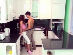 Longhaired redhead sweetheart acquires orgasms stranger sex in be passed on kitchen