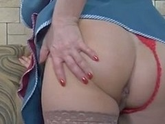 Blonde senior maid spies upon a man
