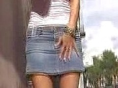 A all bollixed up make duct spot on a jean skirt