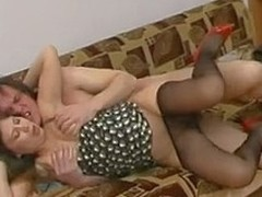 Drunk honey upon dark pantyhose getting screwed upon all positions possible