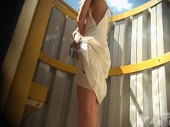Tanned blonde hither a blanched costume. This Playgirl changed unsurpassed a brassiere. Paired with we have the opportunity hither admire her slender tanned body added to diminutive tits hither this beach shack voyeur video.