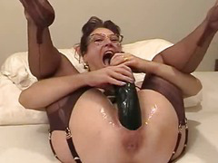Dilettante wife fisted increased by drilled close by a massive fake penis