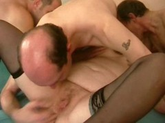 Guy joins corpulent blond and her dude for a three-some with anal and DP