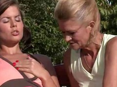 Outdoor lovemaking with mamma and sons gf