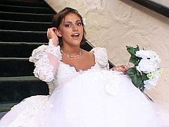 Pretty bride in three-some sex