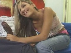 Legal age teenager tow-haired white gal with dark man - Interracial (p.1)