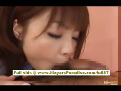 Risa Kasumi non-professional oriental indulge does oral-service