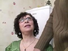 Breasty Granny in Nylons and Glasses Bonks