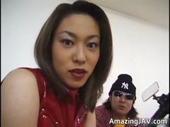 Oriental mollycoddle masturbating on motorcycle
