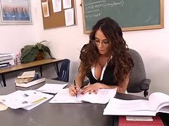 Beautiful brunette hair MILF teacher relaxes with her student