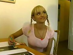 French legal age teenager angel in pigtails receives screwed by her old uncle