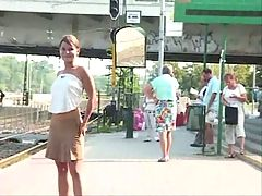 Public melons and pussy flashing