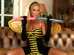 A bee endowed with herself in discrete ways assisting hard by 3 dildos
