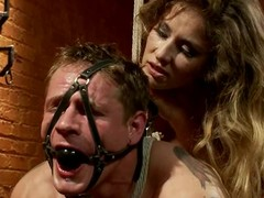 Bound up paired with gagged chap receives toyed in make an issue of wazoo by his mistresse