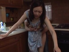 Japanese MILF group-fucked on the kitchenette bar-room
