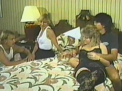 Retro episode with perverted four swinger couples gender in a bedroom
