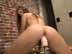 Alison fingers her wet crack and receives pleasured by a bonking machine