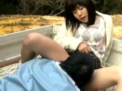 Japanese legal age teenager acquires the brush snatch licked and drilled in a pickup