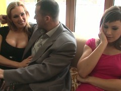Tanya Tate and Abbie Make pleasure of share James Brossman's penis indoors