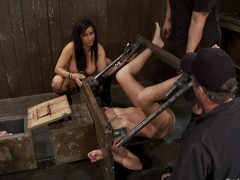 2 hawt cuties receive toyed and whipped hard by their bitch goddess