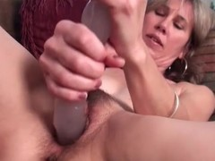 Shaggy milf groans as that babe copulates thick sex-toy