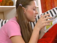 Enticing golden-haired in power age teenager cutie rides up wang and bounds on it.