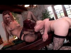 Nice-looking angels relating to hot fishnets eat wet crack