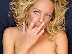 X-rated eyed blond babe undresses and masturbates at bottom burnish apply ottoman