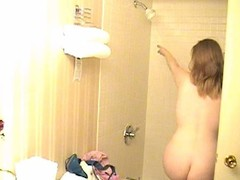 Obese legal age teenager filmed taking a shower