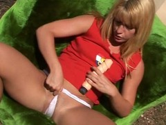 Lascivious golden-haired issuing her legs be proper of toys.