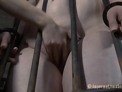 Bound surrounding inclusive gets her cum-hole lips opened surrounding for lubricious castigation