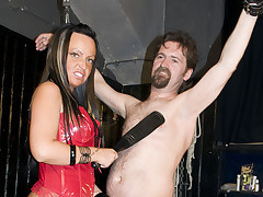 Dominant mother i'd get a kick out of to fuck gives tugjob to serf