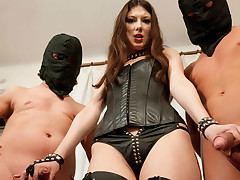 Horrific mistress gets fucked hard by one slaves