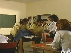 Naff German schoolgirls fucked in the classroom