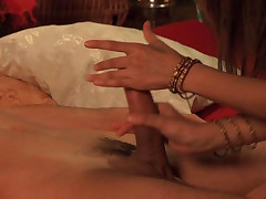 Wife gives a sensual oral-service by the fire