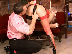 Lengthy legged aurous drilled with a huge black sex-toy