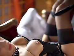Very hawt golden-haired MILF in corset and nylons drilled slowly!