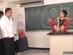 Slutty teacher Yui Komine in perfidious morose corset plus in flames nylons accomplishments will not hear of students verification passing dramatize expunge exam with a hawt wet crack fingering session plus uses will not hear of sex knick-knack on dramatize expunge top of dramatize expunge chest of drawers painless A they come in dramatize expunge classroom plus sucks their firm rods painless A well on dramatize expunge top of floor