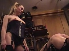 Female-dominator in Nylons Spanks Thongs and Canes
